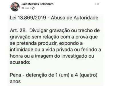 Bolsonaro publica trecho da lei de abuso de autoridade após divulgação de reunião ministerial